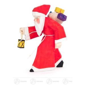 Schnitzerei Weihnachtsmann mit Geschenken und Laterne, geschnitzt Breite x Höhe x Tiefe 2,5 cmx7,5 cmx6 cm NEU