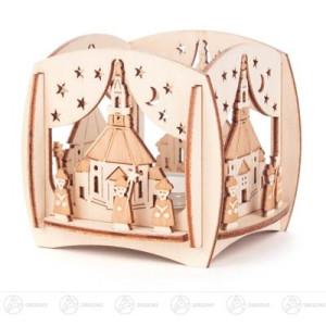 Teelichthalter Seiffener Kirche und Kurrende Breite x Höhe x Tiefe 8,5 cmx8 cmx8,5 cm NEU