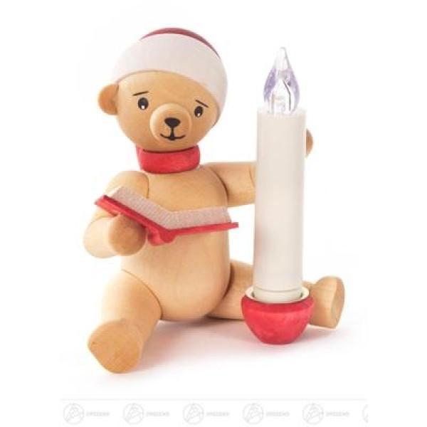 Weihnachtliche Miniatur Weihnachtsbär mit Buch und LUMIX LED-Kerze Breite x Höhe x Tiefe 7,5 cmx9,2 cmx7,2 cm NEU