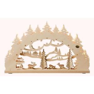 """3D-Lichterbogen """"Waldmotiv"""" mit geschnitzen Figuren, 7-flammig elektrisch beleuchtet 52 x 32 x 4,5 cm (B x H x T) NEU"""
