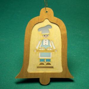 Baumbehang Glocke mit Diaphanbild Stollenbäcker Höhe ca 8 cm NEU