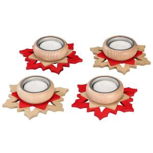 Adventsstern Teelichthalter rot/ natur HxLxB 3x11x11cm NEU