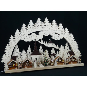Beleuchteter Schwibbogen mit Weihnachtsmarkt Größe =70x45cm NEU