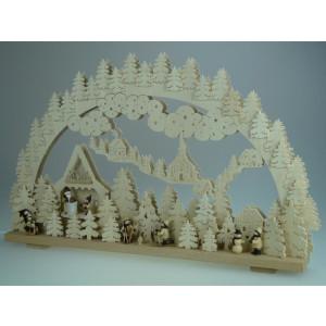 Beleuchteter Schwibbogen mit Weihnachtsmann Werkstatt Größe =70x45cm NEU