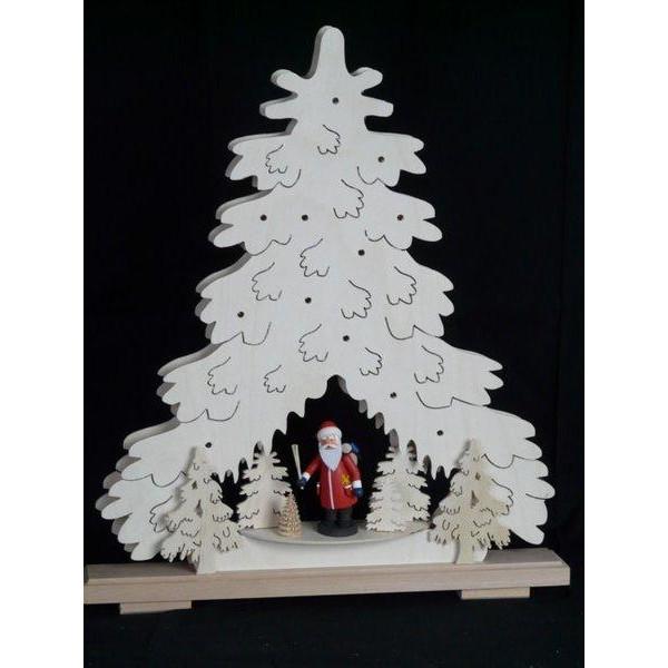 Beleuchteter Schwibbogen Weihnachtstanne mit Weihnachtsmann Größe =44x51cm NEU