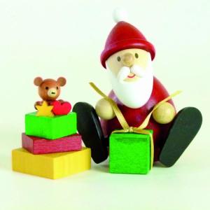Holzfigur Weihnachtsmann mit Geschenkestapel HxB 8,3x9,5cm NEU