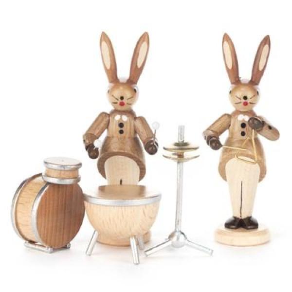 Hasenpaar mit Schlagzeug und Triangel, natur Höhe = 8cm NEU
