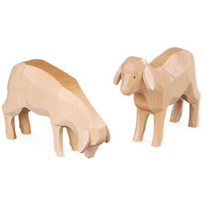 Tischdeko Tischdekoration 2 Schafe für Räuchermänner handgeschnitzt natur (BxH):8x6cm NEU