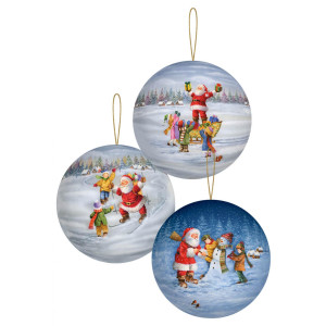 Baumbehang Geschenkkugel »Weihnachtsspaß« (12) Ø 8cm NEU