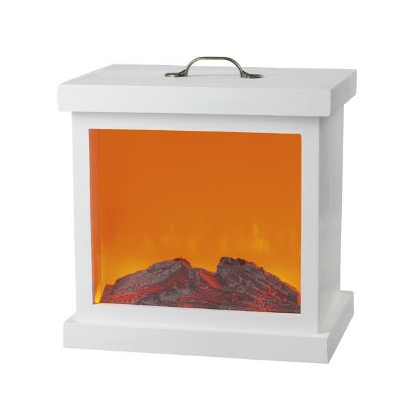 LED-Holzkamin weiß mit Kamineffekt und Metallverzierung für Netzbetrieb mit Timer 30x22x30cm NEU