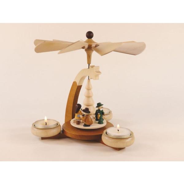 Design-Teelichtpyramide Waldmotiv HxB 19x19,5cm NEU