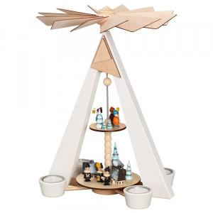 Teelichtpyramide weiß (2 Stock) Winterdorf mit Kurrende & Laternenkindern BxHxT 27x38x22cm NEU