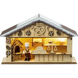Holzhaus Große Weihnachtsbäckerei für Batteriebetrieb mit Timer BxHxT 27x7,5x17,5cm NEU