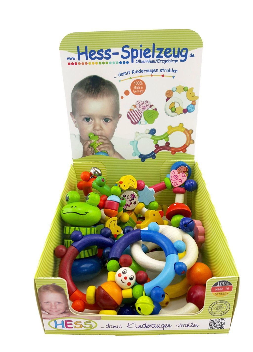 Babyspielzeug Display mit 12 Motorikrasseln BxLxH 90x30x110mm NEU
