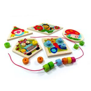 Holzspielzeug Fädelspiel kunderbunte Farbenwelt BxLxH 170x10x100mm NEU