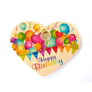 Holzdekoration Geburtstagsherz Happy Birthday BxLxH 110x10x90mm NEU