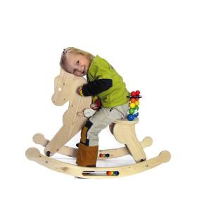 Holzspielzeug Schaukelpferd natur/ bunt BxLxH 330x830x600mm NEU