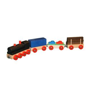 Holzspielzeug Eisenbahn mit 3 Wagen bunt Länge 37 cm NEU