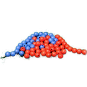 Holzspielzeug 100 blaue Holzperlen Ø 1,3cm NEU