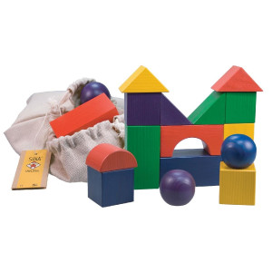 Holzspielzeug Baubeutel mit 15 Holzbausteinen 5cm LxBxH 127x127x120mm NEU