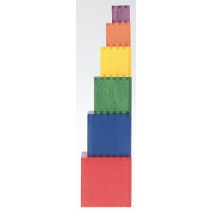 Holzspielzeug Stabelspiel Würfelturm 6 Steine LxBxH 93x93x93mm NEU