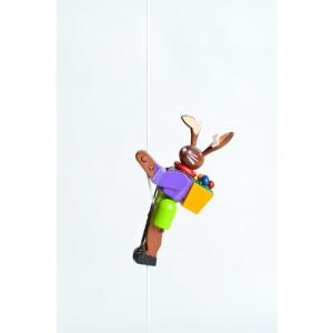 Holzspielzeug Kletterfigur Osterhase Höhe=6,5 (Kletterseil ca 45 cm)cm NEU