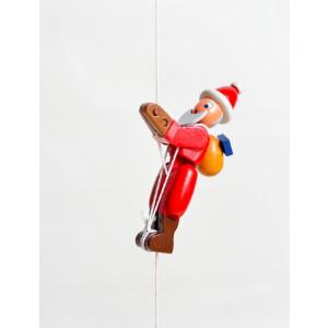 Holzspielzeug Kletterfigur Weihnachtmann Höhe=6,5 (Kletterseil ca 45 cm)cm Kletterfigur Weihnachtmann