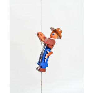 Holzspielzeug Kletterfigur Cowboy Höhe=6,5 (Kletterseil ca 45 cm)cm NEU