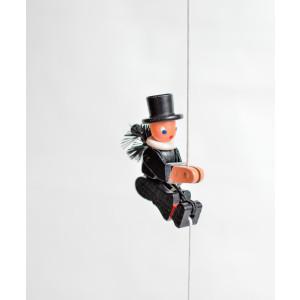 Holzspielzeug Kletterfigur Essenkehrer Höhe=6,5 (Kletterseil ca 45 cm)cm NEU
