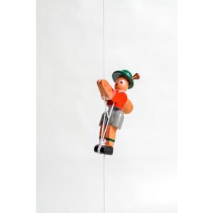 Holzspielzeug Kletterfigur Bergsteiger rot Höhe=6,5 (Kletterseil ca 45 cm)cm NEU
