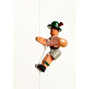 Holzspielzeug Kletterfigur Bergsteiger braun Höhe=6,5 (Kletterseil ca 45 cm)cm NEU