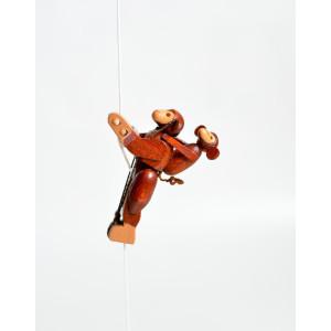Holzspielzeug Kletterfigur Affe mit Jungem Höhe=6,5 (Kletterseil ca 45 cm)cm NEU