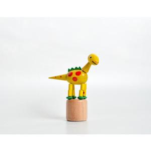Holzspielzeug Wackelfigur Dinosaurier gelb Höhe=9cm NEU