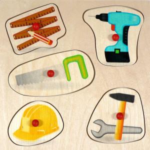 Holzspielzeug Griffpuzzle Werkzeug BxLxH 250x20x250mm NEU