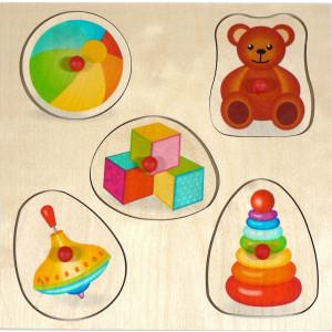 Holzspielzeug Griffpuzzle Spielzeug BxLxH 250x20x250mm NEU